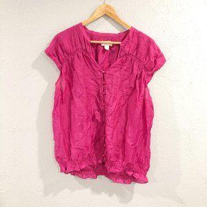 LOFT | Pink Button Up Gauze Short Sleeve Blouse